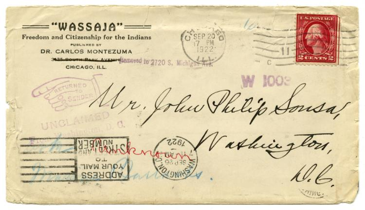 Envelope Addressed to Mr. John Phillip Sousa